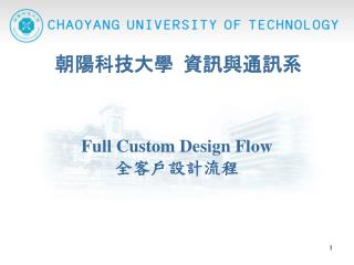 Full Custom Design Flow  全客戶設計流程