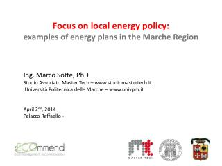 Focus on  local energy  policy: examples  of  energy plans  in the Marche  Region