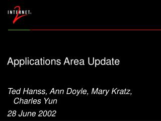 Applications Area Update