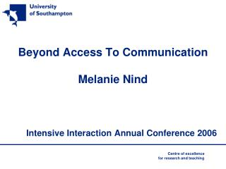 Beyond Access To Communication Melanie Nind
