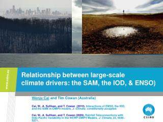 Relationship between large-scale  climate drivers: the SAM, the IOD, & ENSO)