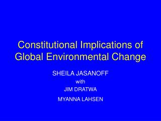 Constitutional Implications of Global Environmental Change