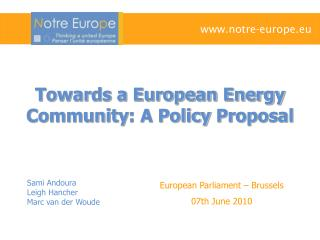 Towards a European Energy Community : A Policy  Proposal