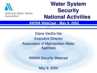 Water System Security  National Activities
