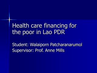 Health care financing for the poor in Lao PDR
