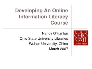 Developing An Online Information Literacy Course