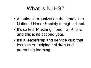 What is NJHS?
