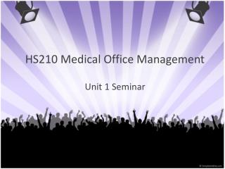 HS210 Medical Office Management