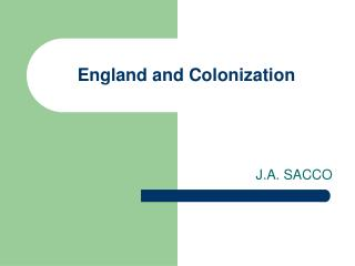 England and Colonization