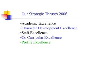 Academic Excellence Character Development Excellence Staff Excellence Co Curricular Excellence