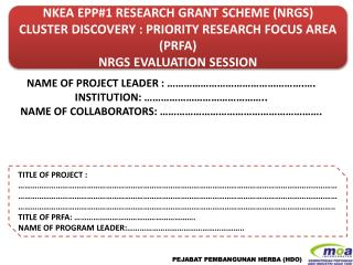 NKEA EPP#1 RESEARCH GRANT SCHEME (NRGS) CLUSTER DISCOVERY : PRIORITY RESEARCH FOCUS AREA (PRFA)