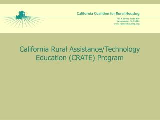 California Rural Assistance/Technology Education (CRATE) Program