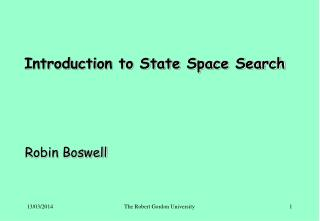 Introduction to State Space Search