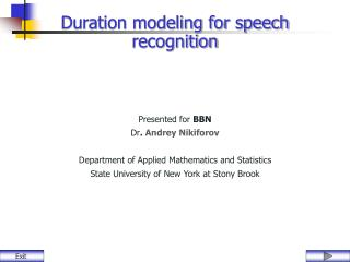 Duration modeling for speech recognition
