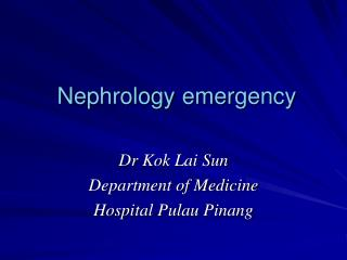 Nephrology emergency