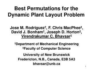 Best Permutations for the Dynamic Plant Layout Problem