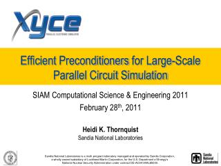 Efficient  Preconditioners  for Large-Scale Parallel Circuit Simulation