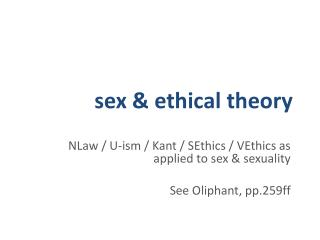 sex & ethical theory