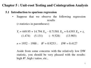 Chapter 5 : Unit-root Testing and Cointegration Analysis