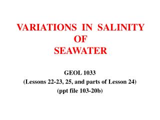 VARIATIONS  IN  SALINITY OF SEAWATER