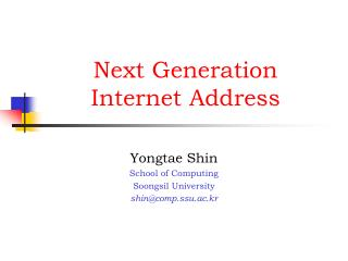Next Generation Internet Address