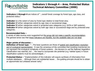 Indicators 1 through 4 – Area, Protected Status Technical Advisory Committee (2000)