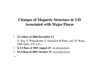 Changes of Magnetic Structure in 3-D  Associated with Major Flares