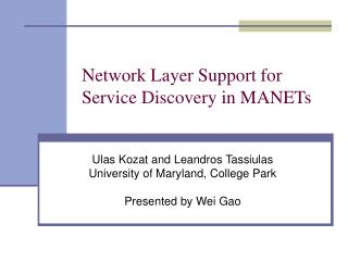 Network Layer Support for Service Discovery in MANETs