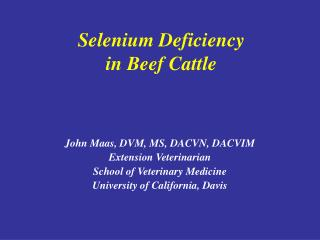 Selenium Deficiency in Beef Cattle