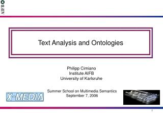 Text Analysis and Ontologies