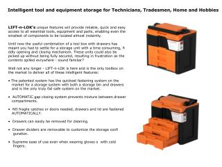 Intelligent tool and equipment storage for Technicians, Tradesmen, Home and Hobbies