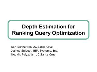Depth Estimation for Ranking Query Optimization