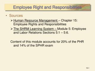 Employee Right and Responsibilities
