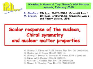 Scalar response of the nucleon,  Chiral symmetry  and nuclear matter properties