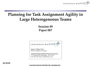 Planning for Task Assignment Agility in Large Heterogeneous Teams Session 09 Paper 087