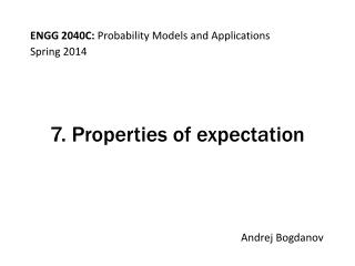 7. Properties of expectation