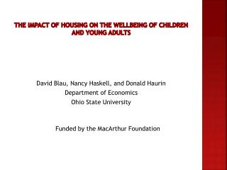 The Impact of Housing on the Wellbeing of Children and Young adults