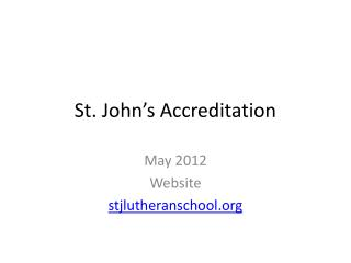 St. John's Accreditation