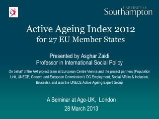 Active Ageing Index 2012 for 27 EU Member States