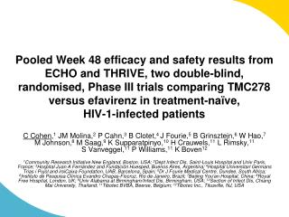 Pooled Week 48 efficacy and safety results from ECHO and THRIVE, two double-blind, randomised, Phase III trials comparin
