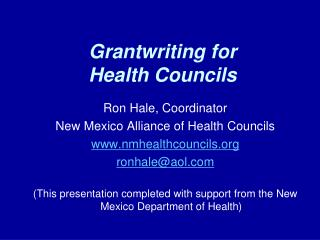 Grantwriting for Health Councils