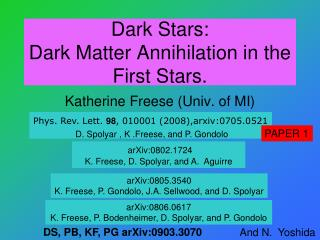 Dark Stars:  Dark Matter Annihilation in the  First Stars.