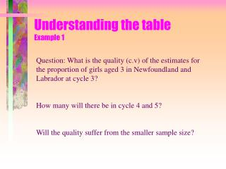Understanding the table Example 1