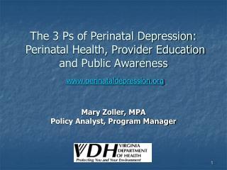 The 3 Ps of Perinatal Depression: Perinatal Health, Provider Education and Public Awareness perinataldepression