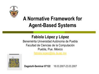 A Normative Framework for  Agent-Based Systems