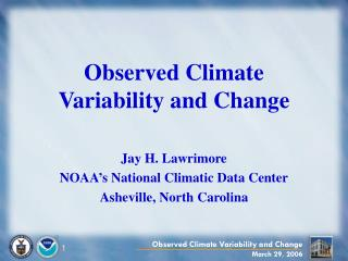 Observed Climate Variability and Change