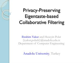 Privacy-Preserving  Eigentaste-based  Collaborative Filtering