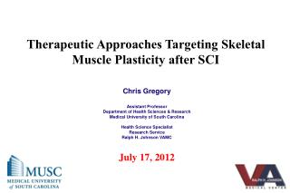 Therapeutic Approaches Targeting Skeletal Muscle Plasticity after SCI