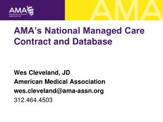 AMA's National Managed Care Contract and Database