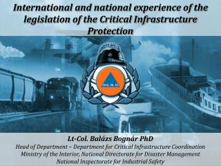International and national experience of the legislation of the Critical Infrastructure Protection
